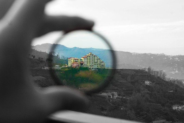 Coloured Lense Filter Against A Hotel