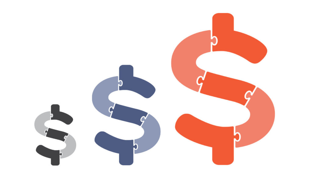 Three Dollar Signs In Different Colours