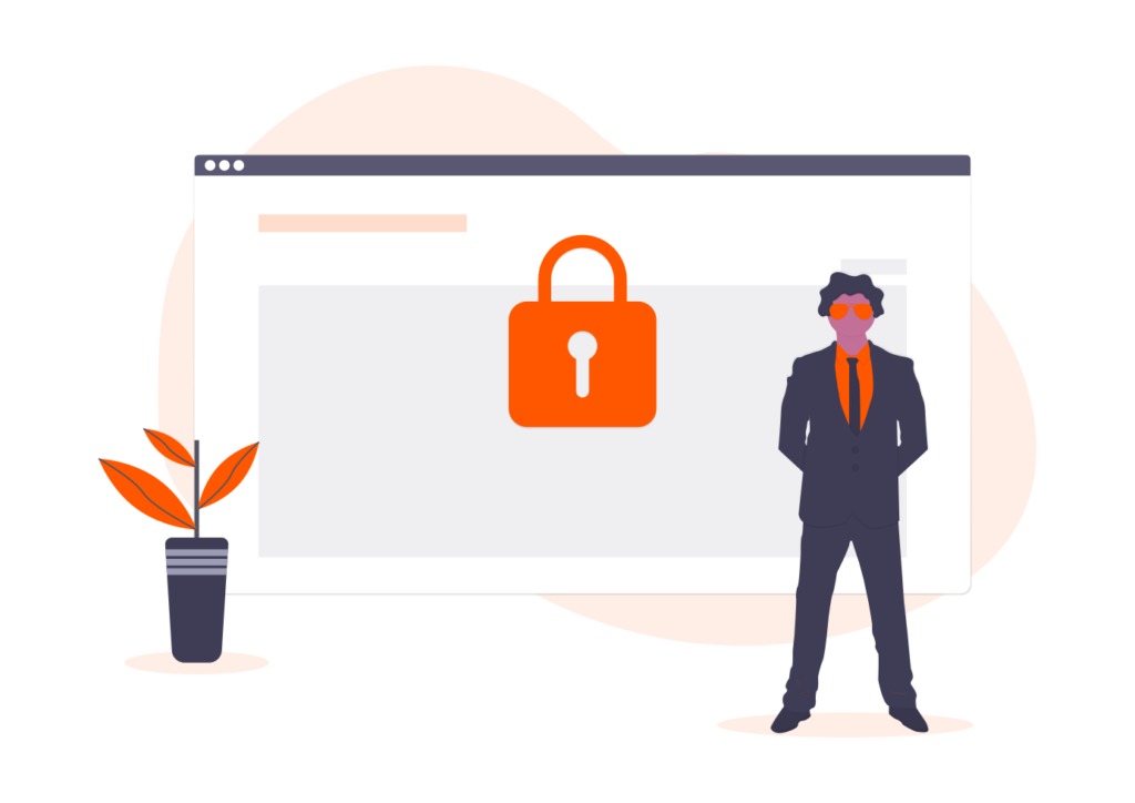 Security Illustration with padlock and security guard